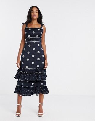 Talulah Whimsical tiered polka dot midi dress