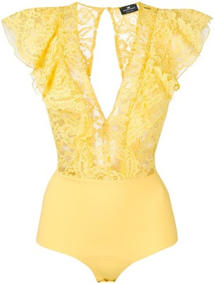 Elisabetta Franchi Lace Frill-Trim Bodysuit