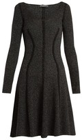 Alexander McQueen Speckled Flared-skirt Ribbed-knit Dress - Womens - Black
