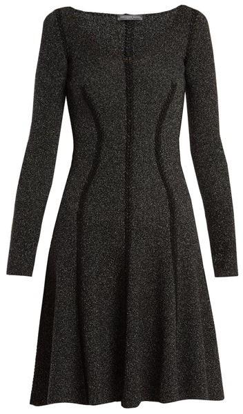 Alexander McQueen Speckled Flared Skirt Ribbed Knit Dress - Womens - Black