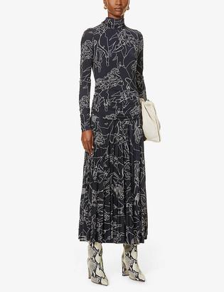 Victoria Victoria Beckham Graphic-print stretch-woven midi dress