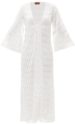 Missoni Mare Tie Front Embroidered Crochet-knit Robe - White