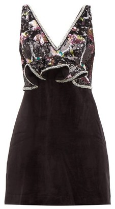 Self-Portrait Floral-sequinned Velvet Mini Dress - Black Multi