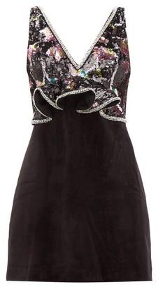 Self-Portrait Floral-sequinned Velvet Mini Dress - Womens - Black Multi