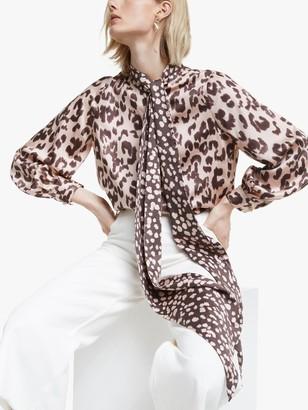 Mother of Pearl Tencel Leopard Print Tie Neck Blouse, Pink/Multi