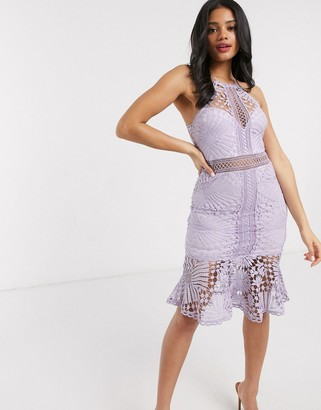 Love Triangle lace pencil dress in lilac