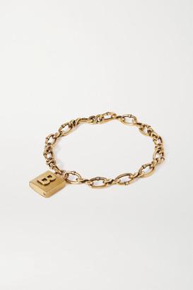 Balenciaga Lock Embossed Gold-tone Necklace