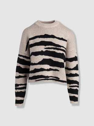 Naadam Wool Cashmere Tiger Stripe Crewneck Sweater