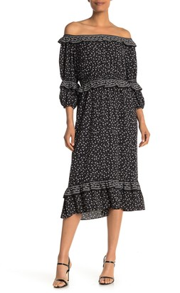 Max Studio Long Sleeve Tier Maxi Dress