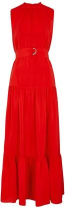 M Missoni Red Belted Silk Maxi Dress