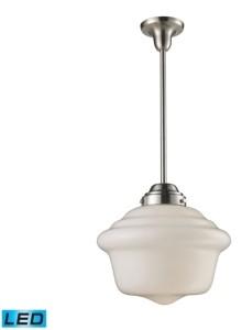 Elk Lighting Schoolhouse 1-Light Pendant in Satin Nickel - Led Offering Up To 800 Lumens (60 Watt Equivalent) With