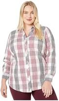 Foxcroft Plus Size Faith in Crinkle Buffalo Plaid (Beaujolais) Women's Clothing