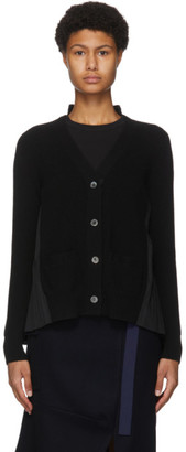 Sacai Black Wool Pleated Back Cardigan