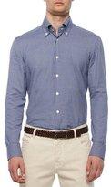 Kiton Check Long-Sleeve Woven Shirt, Blue/Navy