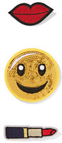 New York & Co. Sequin Smiley Face Patch Set