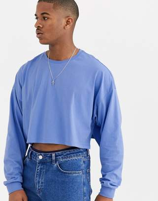 Asos Design DESIGN oversized cropped long sleeve t-shirt in blue-Purple