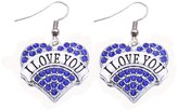 HuiLin Jewelry I LOVE YOU Earrings Crystal Adorned Heart Shaped Pendant French Hook Earrings Commemoration Day Jewelry