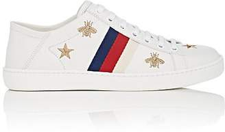 Gucci Women's New Ace Embroidered Leather Sneakers - White