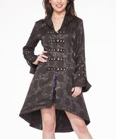 Black Corset Swing Coat - Plus Too