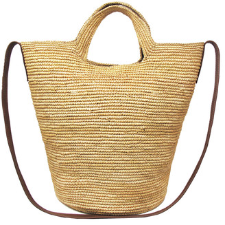 Sensi Tall Straw Bucket Shoulder Bag