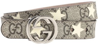 Gucci Stars Print Faux Leather Belt