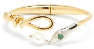 Chloé Freshwater Pearl Snake Cuff - Gold