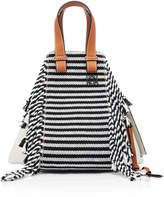 Loewe Hammock Scarf Leather-Trimmed Woven Cotton Tote