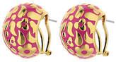 Lauren G. Adams Lauren G Adams Goldtone Magenta Enamel Floral Hoop Earrings