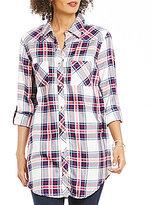 Tolani Tina Point Collar Roll-Tab Sleeve Button Front Plaid Tunic