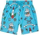 Vilebrequin Kids Vilebrequin Nautical Tattoo Print Shorts, Blue, 14YEARS