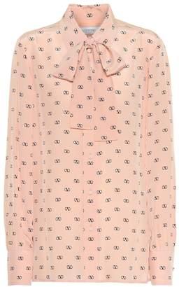 Valentino VLOGO printed silk blouse