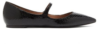 Tabitha Simmons Hermione Python-embossed Leather Mary-jane Flats - Womens - Black
