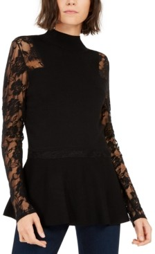 INC International Concepts Inc Lace Peplum Sweater, Created for Macy's