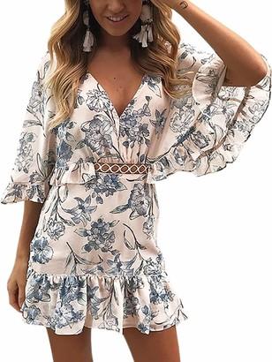 ECOWISH Women's Dresses Floral Print V Neck Batwing Ruffle Hem Short Sleeve Hollow Out Boho Mini Dress Pink S