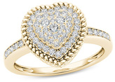 Zales 1/4 CT. T.W. Composite Diamond Heart-Shaped Rope Frame Ring in 10K Gold