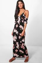 boohoo Daniella Floral Cold Shoulder Frill Maxi Dress black