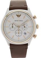 EMPORIO ARMANI Men's Zeta 43mm Matte Chronograph Dial Leather Strap Watch