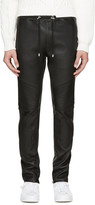Balmain Black Leather Biker Lounge Pants