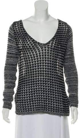 Helmut Lang Crochet V-Neck Sweater