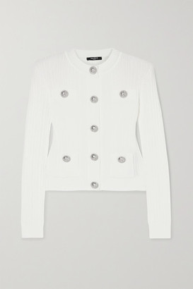 Balmain - Button-embellished Ribbed-knit Cardigan - White