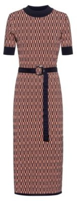 HUGO BOSS Slim-fit knitted dress with all-over pattern