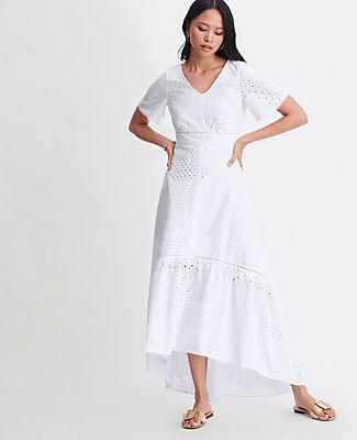 Ann Taylor Petite Eyelet Short Sleeve Maxi Dress