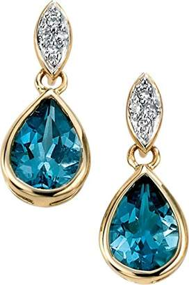 Elements Gold 9ct Yellow Gold Diamond and London Blue Topaz Drop Earrings