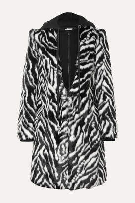 Alice + Olivia Kylie Hooded Zebra-print Faux Fur Coat - Black