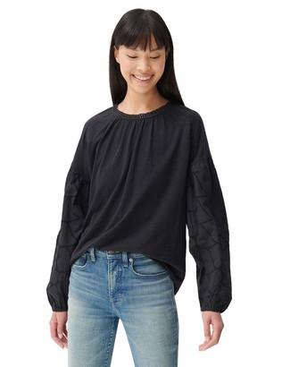 Lucky Brand Women's Long Sleeve Crew Neck Mixed Media Knit Top