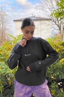 Champion Black Quarter-Zip Sweatshirt - Black XS at Urban Outfitters