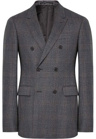 Calvin Klein Grey Slim-Fit Double-Breasted Prince Of Wales Checked Wool Suit Jacket