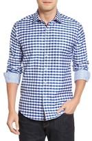 Bugatchi Men's Shaped Fit Herringbone Check Sport Shirt
