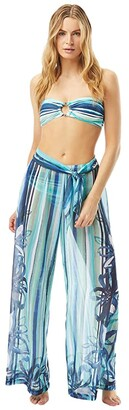 Carmen Marc Valvo Palermo Posy Wide Leg Pants Cover-Up with Sash Belt Side Zipper Closure (Midnight) Women's Swimwear