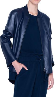 Akris Punto Perforated Leather Bomber Jacket